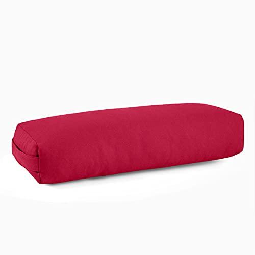 Yoga-Kissenkissen-Iyengar-Kissen Yin Yoga-Hilfskissen, bedeckt mit maschinenwaschbarem Wildlederkissenbezug mit Griff, kann für Pilates usw. verwendet Werden (25,2'x 9,4') (Farbe : Rot)
