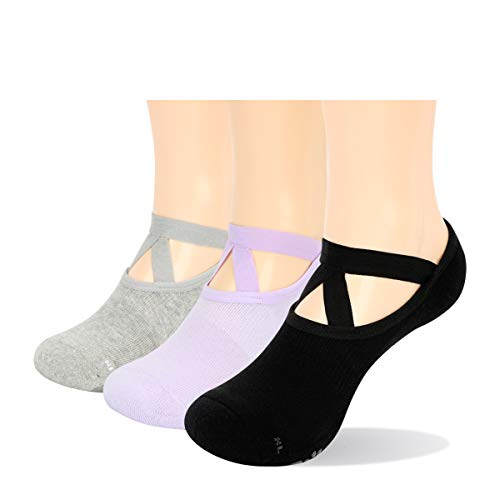 YUEDGE Rutschfest Yoga Socken Baumwolle Pilates Ballett Barre Socken mit Grip für Damen Barfuß Workout...