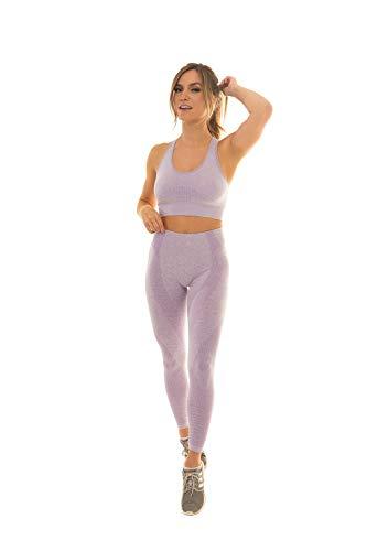 Shop Konna Active Yoga Nahtlose hohe Taille zweiteilige Leggings Fitness Gym Set … - Violett - Klein