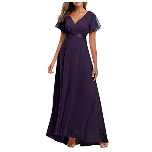 Kleid für Frauen, Frauen Big Swing V-Ausschnitt Kleid Chiffon Elastisch Bankett Brautjungfer Abendkleid Cocktail Homecoming formelle Kleider
