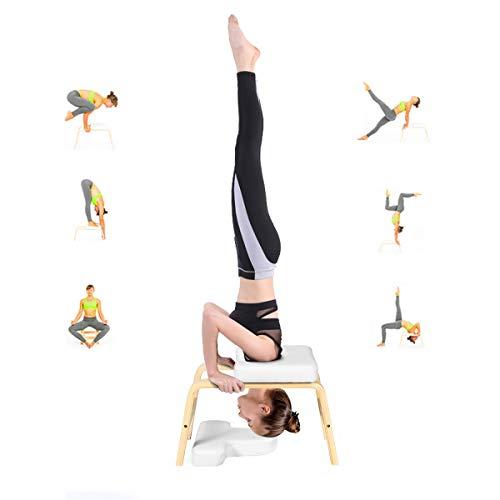 RELAX4LIFE Yoga Kopfstandhocker, Yoga Hocker belastbar bis zu 200 kg, Handstand Bank aus Massivholz, Inversion...