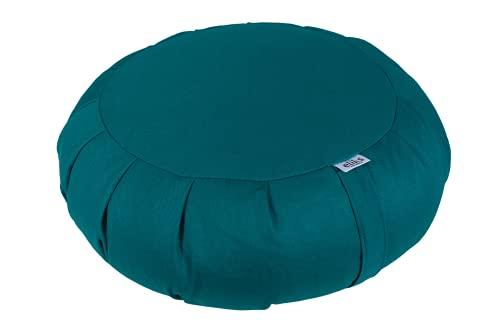 ELIKS ZAFU Kissen für Meditation Meditationskissen aus 100% Baumwolle rundes Sitzkissen mit Buchweizenschale antialergisch Buchweizenschalekissen mit Zertifikat (seefarbe)