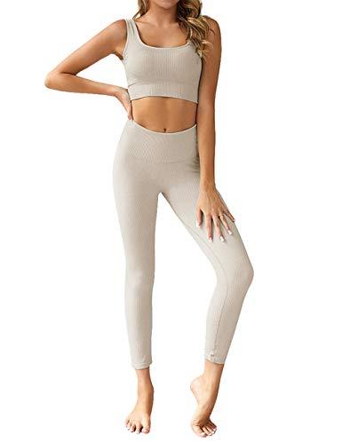 Menore Damen Sport Set Fitness Yoga Damen Hosen und Sport Crop Top 2 Stücke Sport Bekleidungssets Yoga Outfit...