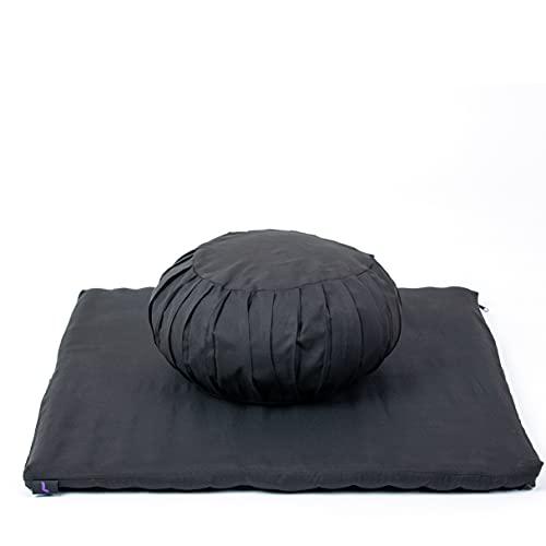 Leewadee Meditationsset Bezug abnehmbar und waschbar Yogaset aus Meditationskissen Zafu und Sitzmatte Zabuton Ökologisches Naturprodukt, 69x78x25 cm, Kapok, schwarz
