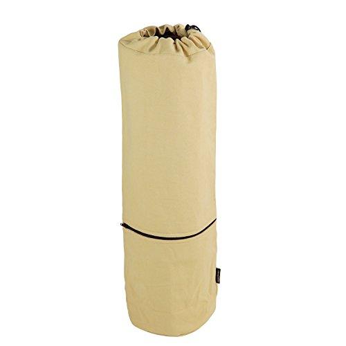 Yogatasche CANVAS Bag, große Yogamatten-Tasche aus Baumwolle, Seesack, strapazierfähig, sand