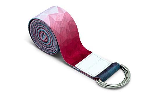 omnihabits Yogagurt, Yogaband, Yoga Strap, bunt Designed (rot-blau-weiß, 220 x 3,8 cm)