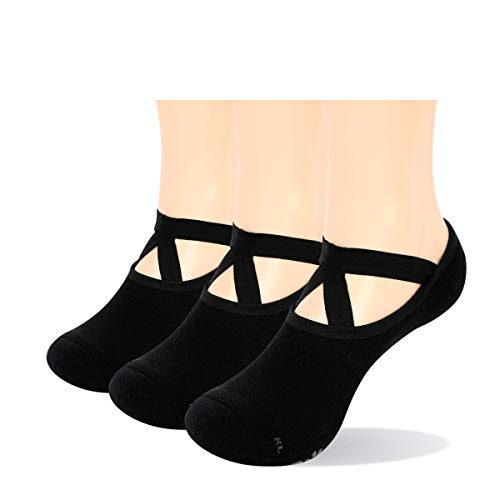 YUEDGE Rutschfest Yoga Socken Baumwolle Pilates Ballett Barre Socken Schwarz mit Grip für Damen Barfuß...