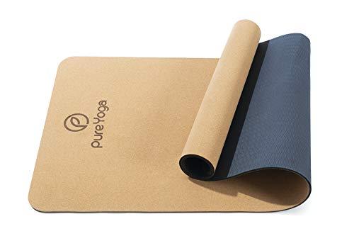 Pure Yoga Yogamatte aus Kork – Naturkork – rutschfest – Extra Breit – Nachhaltig – Umweltfreundlich – Sehr Leicht – inklusive Tragegurt (183 cm x 66 cm x 0,5 cm)