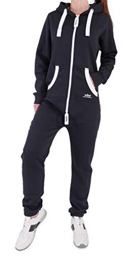 Finchgirl Damen Jumpsuit Jogger Jogging Anzug Trainingsanzug Overall (L, Schwarz)