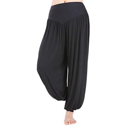 HOEREV Super weiche Modal Spandex Harem Yoga Pilates Hosen, Gr.-Large,Schwarz