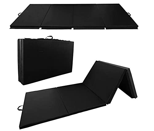 YJYDD Klappbar Turnmatte Gymnastikmatte Weichbodenmatte Yogamatte Tragbar Fitnessmatte (Color : Schwarz-240 * 120 * 5cm)