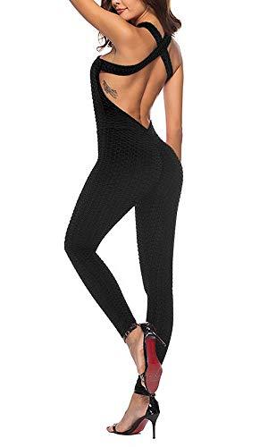 OEAK Damen Sport Jumpsuit Rückenfrei Yoga Bodysuit Overall Gefaltet Leggings Sporthosen Bandage Playsuits...