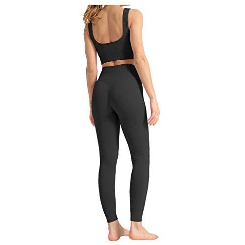 Damen Yoga Trainingsanzüge Sport Shirt Langarm Trainingshose Set Yoga Hosen Leggings Tights Shape Stretch...