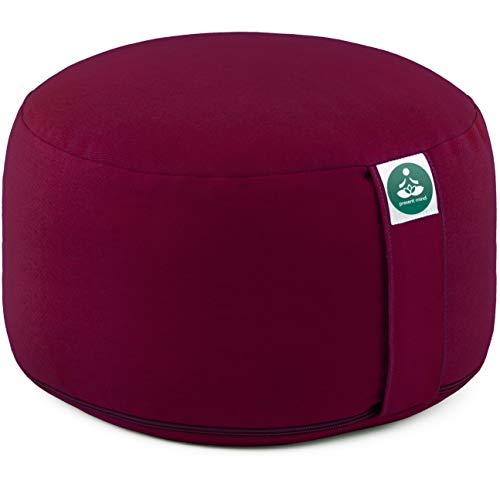 Present Mind Yogakissen Rund Extra Hoch (Sitzhöhe 20 cm) l Farbe: Burgund l Yogakissen Meditationskissen Hoch...