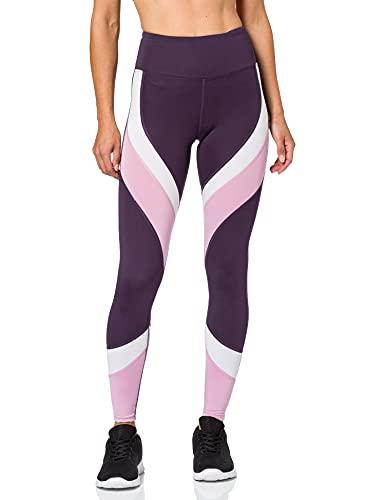 Amazon-Marke: AURIQUE Damen Colour Block-Sportleggings, Violett (Nightshade/White/Mauve Mist), M