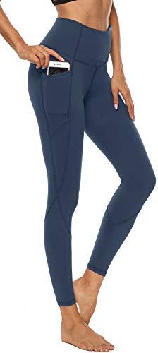 Persit Damen Yoga Leggings, Sport Tights Leggins Yogahose Sporthose für Damen Stahlblau-M