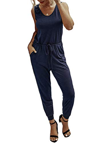 Famulily Damen Sommer Jumpsuit Casual gestreift ärmellos Strampler mit Taschen Gr. M, blau