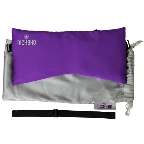 Nicheko Lavendel Augenkissen, 12,7 x 25,4 cm, mit Leinsamen & Lavendel, waschbarer Bezug, Yoga-Augenkissen für Meditation, Entspannung & Schlafmasken, erholsames Set für heiße und kalte Kompresse