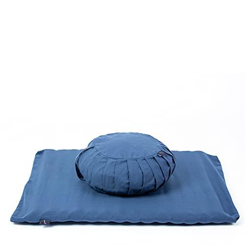 Leewadee Meditationsset Bezug abnehmbar und waschbar Yogaset aus Meditationskissen Zafu und Sitzmatte Zabuton...