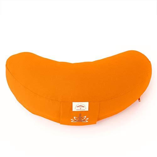 Sei Design Halbmond Yogakissen Meditationskissen mit Buchweizenschalen-Füllung (Orange)