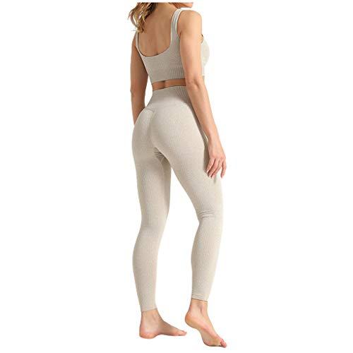 Damen Yoga Trainingsanzüge Sport Shirt Langarm Trainingshose Set Yoga Hosen Leggings Tights Shape Stretch Sporthose für Workout Gym Joggen Trainings Fitness Laufen Hosen