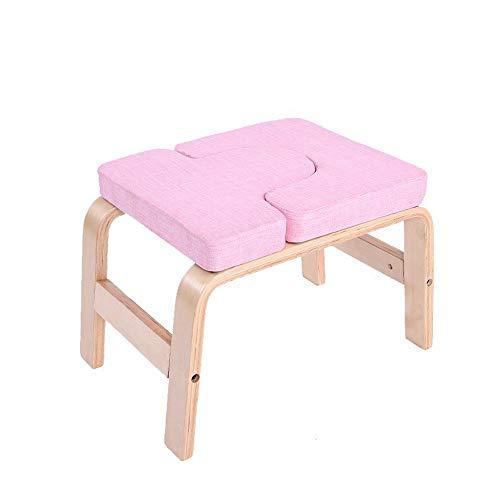 Kopfstandhocker Safe,Yoga Stuhl Holz für Familie,Hocker überschlagen mit Holz Und Leinen...