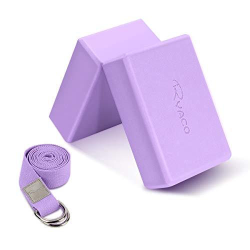 Ryaco 2pcs Yogablock mit 1.8m Yogagurt, Yoga Blöcke Yoga Klotz Korkblock Set Yoga Pilates Training...