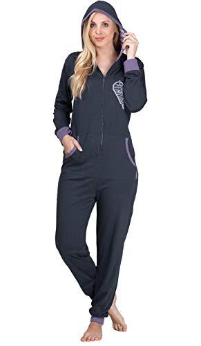 maluuna - Damen Jumpsuit, Onesie, Overall, Einteiler mit Bündchen an Arm- und Beinabschluss aus 100% Baumwolle, Farbe:anthrazit, Größe:40-42