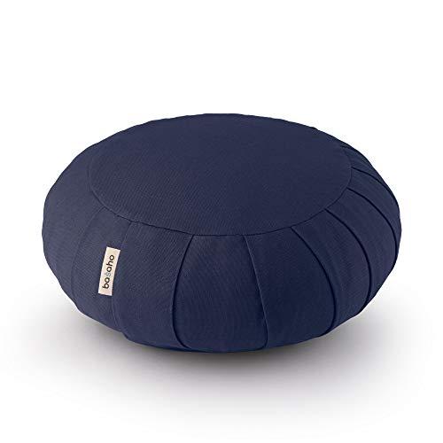 basaho Classic Zafu Meditationskissen Yogakissen   Bio-Baumwolle (GOTS-Zertifiziert)   Buchweizenschalen   Abnehmbarer und waschbarer Bezug (Mitternachtsblau)