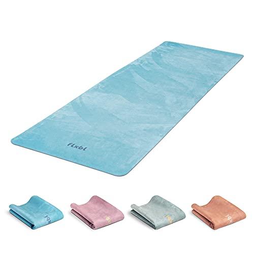 FLXBL Yoga Luxus Yogamatte Rutschfest - Waschbar – Dünn, Leicht und Faltbar für Reise - Nachhaltig und 100% Vegan (Ocean)