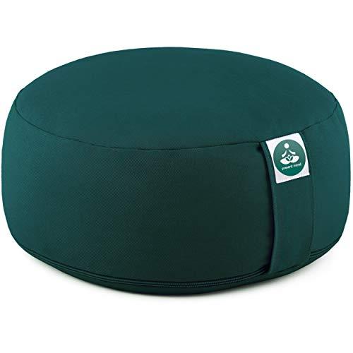 Present Mind Meditationskissen - Yogakissen Rund Zafu - Hergestellt in der EU - Sitzhöhe 16cm - Waschbarer...