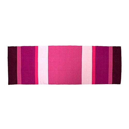 YOGA RUG Yoga-Teppich aus Baumwolle, (198 x 68 cm) Mysore Yoga-Rug, Auflage aus Naturmaterial für Ashtanga oder Hot Yoga Matte, Natur-Material (aubergine-lila-pink)
