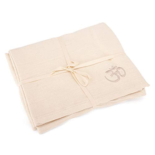 Bodhi Yogadecke SHAVASANA,100% Baumwolle, mit OM-Stick grob gewebt & robust, Tagesdecke, Sofadecke...