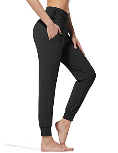 BALEAF Damen Yoga Hose lang Hoch taillierte Jogginghose Leichte Workout Jogger Haremshose mit Taschen Schwarz Größe M