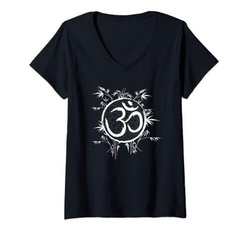Damen Cool Zen Yoga Buddhismus Bambus Yoga Mantra T-Shirt mit V-Ausschnitt
