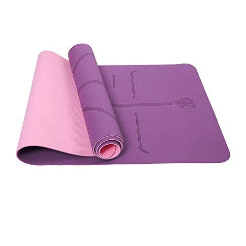 Reyke rutschfeste TPE-Yogamatte Trainingsmatte Umweltfreundliches zweifarbiges Fitness-Pad mit Tragegurt, robuste Trainingsmatte mit Körperausrichtung für Yoga, Pilates, Gymnastik -183 x 61 x 0,6 cm