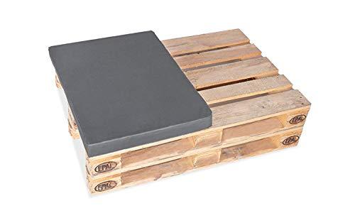 TexDeko Halbes Palettenkissen für Palettensofa Europaletten 1/2 (60x80cm) gepolstert In- & Outdoor (Polsterhöhe: 12cm, Grau)