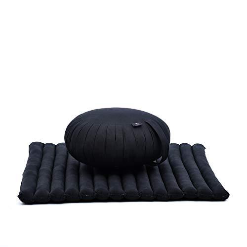 Leewadee Meditationskissen Set Sitzkissen Rund Zafu Yoga Kissen Zabuton Yogakissen Meditationskissen Meditation Zubehör Yoga Sitzkissen Yoga Meditationskissen, Kapok, schwarz
