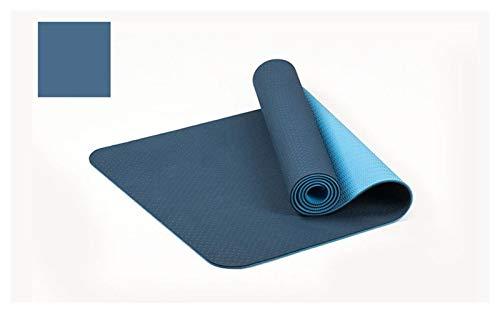 MeiZi 183 * 61 cm 6mm Dicke doppelte Farbe rutschfeste TPE Yoga Matte qualität Training Sport Matte fit für fitnessgymnastik Home Tasteless pad (Color : Blue)