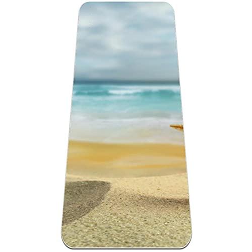 Yogamatte - Premium Print Dicke rutschfeste Trainings- und Fitnessmatte für alle Arten von Yoga, Pilates Bodentraining, 72 'L x 24' B x 6 mm dick, Strandmuschel Seestern