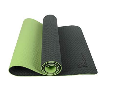 FiduSport TPE Gymnastikmatte Yogamatte rutschfest für Fitness Pilates & Gymnastik Matte mit Tragegurt Turnmatte Sportmatte Bodenmatte Maße: 183cmx61cm (Dunkel Blau)