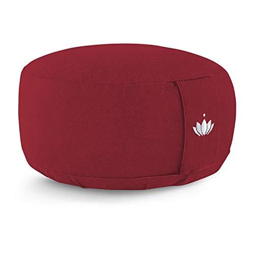 Lotuscrafts Yogakissen Meditationskissen Rund Lotus - Sitzhöhe 15cm - Waschbarer Bezug aus Baumwolle - Yoga...