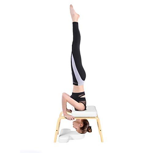 COSTWAY Yoga Kopfstandhocker, Kopfstand Yogastuhl Holz, Yoga Hocker für Zuhause und Fitnessstudio weiß