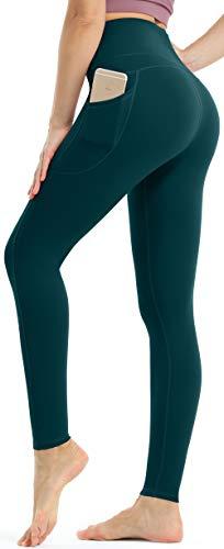 Persit Damen Sport Leggings, High Waist Yogahose Lang Sporthose Sportleggins Tights Blaugrün S