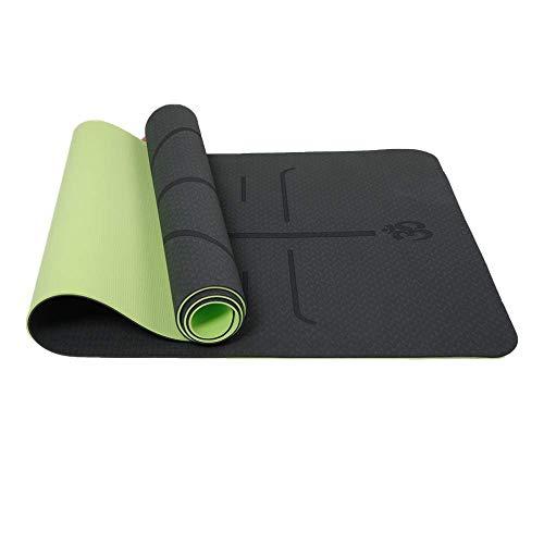 Reyke rutschfeste TPE-Yogamatte Trainingsmatte Umweltfreundliches zweifarbiges Fitness-Pad mit Tragegurt,...