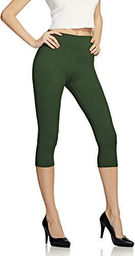 ATIKA Damen Leggins Hohe Taille Stretchy Slim & Buttery Soft Legging, Nicht Durchsichtig Strumpfhosen und Leggings, Mädchen Jungen, Lässige weiche Caprihose (lc110) – Olivgrün, Einheitsgröße