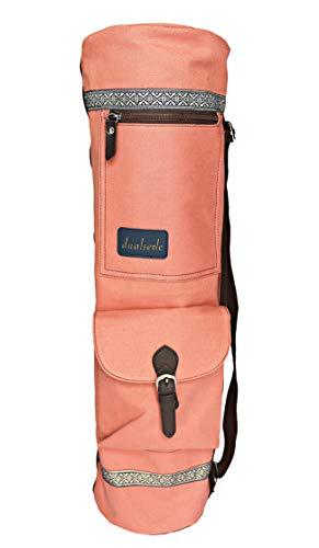 dualseele Eco Yogatasche für Matte groß 70 cm aus Baumwolle/Leinen praktisch mit großen Taschen und...