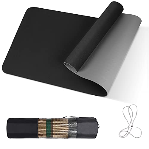 Yogamatte TPE, 183x61x0.6cm Yoga Mat mit Tragegurt&Tasche, Fitnessmatte rutschfest, Trainingsmatte, Übungsmatte für Workout, Schwarz&Grau