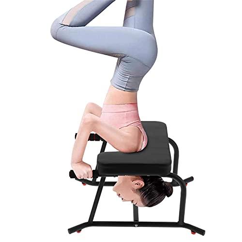 Yoga Kopfstandhocker, Yoga Kopfstandstuhl mit PU-Kissen Multifunktionale Yoga Inversion Bank für Kopfstand Stabil Yoga-Kopfständer-Bank, für Zuhause Fitnessstudio Gym