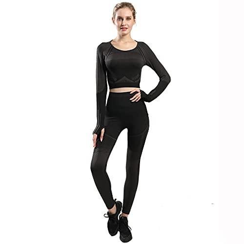 ABUCIYO 2 Piece Sports Set Seamless Yoga Set for Women Long Sleeve Gym Crop Top High Waist Leggings Fitness Suit (Black,Large)